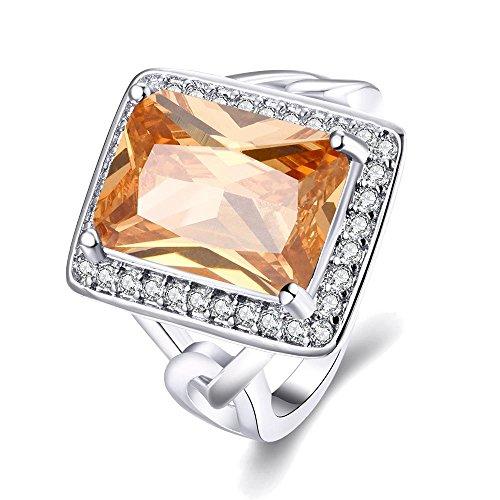 Sona Kissen (Luminous Hochwertige Nickel Frei Antiallergische Mode - Schmuck Weiß - Zirkon - Ring ,Rhodium,7)