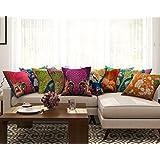 [Sponsored]SEJ By Nisha Gupta Cotton (Set Of 10) HD Digital Premium Cushion Cover 16 By 16 Inch Multicolor