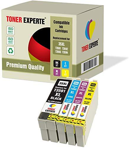 Kit 4 XL TONER EXPERTE 35 35XL Cartucce d'inchiostro compatibili per Epson WorkForce Pro WF-4720DWF, WF-4725DWF, WF-4730DTWF, WF-4740DTWF (Nero, Ciano, Magenta, Giallo)