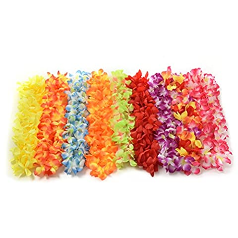 LUOEM Hawaiian Luau Flower Leis Necklaces Tropical Flower Garland Necklace for Birthday Wedding Party Luau Beach Party (Pack of 12)