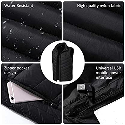 Freefa Electric Heated Vest USB Lightweight Size Right 5 Heating Zones Water Wind Resistant with Touchscreen Glove 3