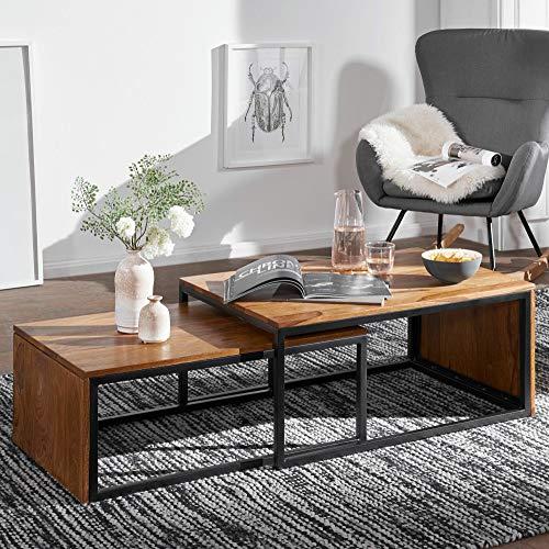 KS-Furniture Lot de 2 Tables Basse Design en Bois Massif Sheesham avec Structure en métal Massif et sofum