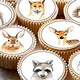 24Kuchen Topper 4cm auf Zuckerguss Cupcake Bilder–Aquarell ND2Forest Friends Tiere Reh Hase Igel Fuchs mit Blumen