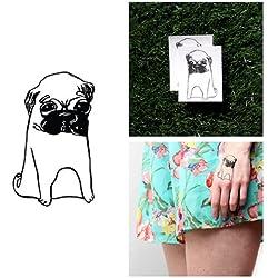 Tatuaje Temporal Tattify - Pug - Hush Puppies (Juego de 2)