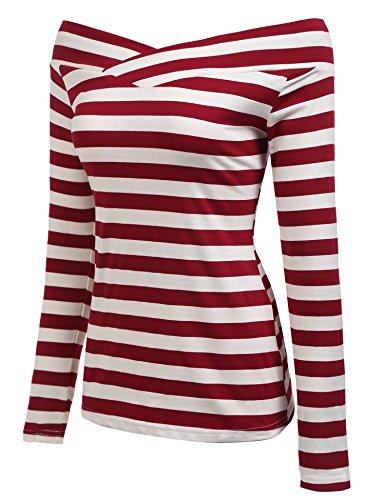 Zeagoo Damen Schulterfrei Langarmshirt Gestreiftes Shirt off Schulter  Obertail T-Shirt Tops Weinrot ...