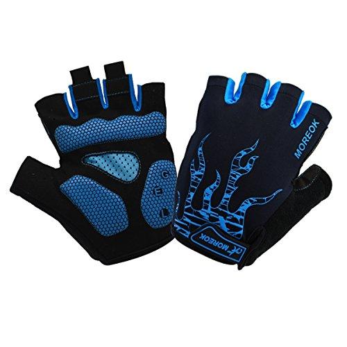 ITODA Fahrradhandschuhe Unisex Design Blau Handschuhe Sport Halbfinger Fitnesshandschuhe L Damen Herren Reithandschuhe Anti-Schock Atmungsaktive Arbeitshandschuhe für Radsport Fitness Mountainbike