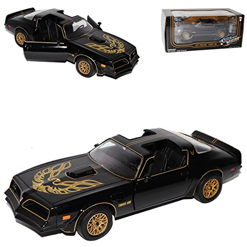 pontiac-trans-am-1977-schwarz-smokey-and-the-bandit-schwarze-reifen-1-24-greenlight-modell-auto