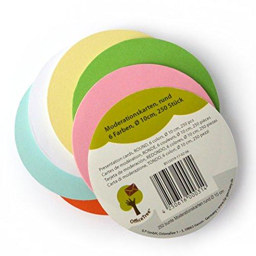 OfficeTree ® Moderationskarten rund 10 cm ø - 130 g/qm stark 250 St. 6 Farben - unverzichtbar für professionelle Präsentation Gesprächsleitung Moderation - Zur Unterstützung im Unterricht Meeting Büro