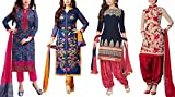 Offer Track Women's Printed Unstitched Regular Wear Salwar Suit Dress Material (Combo pack of 4)(OT_Combo_Offers_7103)(OT_DMCombo_7109)(OT_Dresses_3053_Blue)(OT_Dresses_3054_Blue)(OT_Dresses_3001_Blue)(OT_Dresses_3046_Red)