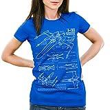 style3 X-Wing Damen T-Shirt blaupause t-65, Farbe:BlauGröße:M