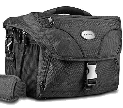 Mantona Neolit XL SLR-Kameratasche (Regenhülle, hochwertige Metallverschlüsse)