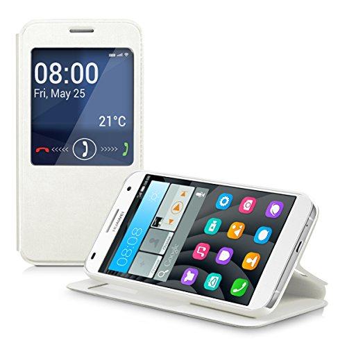 kwmobile Hülle für Huawei Ascend G7 - Bookstyle Case Handy Schutzhülle Kunstleder mit Sichtfenster - Flipcover Klapphülle Weiß