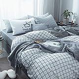 Kexinfan Bettbezug Baumwolle Vierteilige Mix und Match Gestreifte Baumwolle Bettbezug Bettlaken Bett Bettwäsche Bett Typ, Leere Gitter, 1,2 M (4 Fuß) Bett