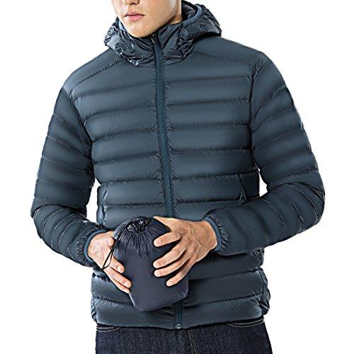 TAK Herren Daunenjacke Outdoor Winterjacke Steppjacke Trekking Zipper Mantel Parka Daunen Sport (Blau grau, XL)