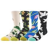 WYTartist, Kleidung für Männer, coole, farbige, lustige, zwanglose, gekämmte Socken, 4 Paare - in Geschenkebox, blume
