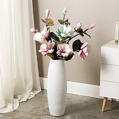 Sjzgd Große Bodenvase/Modernes Großes Wohnzimmer Wohnaccessoires Weißer Topf Keramik/Blumengesteck, 100Cm Ohne Blumen