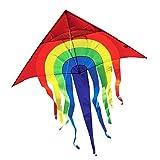 Großer Kinderdrachen - SUPER-DRACHEN Rainbow Delta XL - Einleiner Flugdrachen für Kinder ab 6 Jahren - 150x166cm - inklusiv 80m Drachenschnur und Streifenschwänze