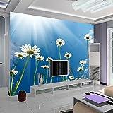 BIZHIGE Blumen Chrysantheme 3D Fototapeten Für Wohnzimmer TV Hintergrund Sofa Vinyl Stoff 3D Wandbilder Fresko Wohnkultur 400 × 280Cm