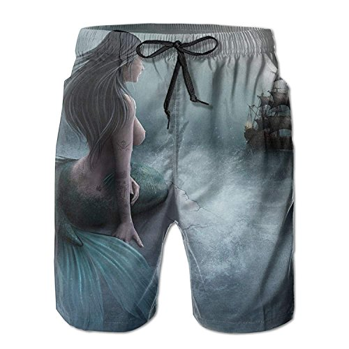 fbb55d24ba Funny&shirt Mermaid Pirate Ship Pattern Men's/Boys Casual Shorts Swim  Trunks Swimwear Elastic Waist Beach