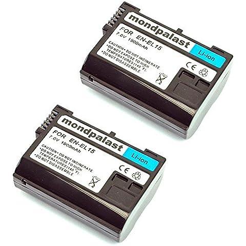 mondpalast@ 2X EN-EL15 1900mAh para Nikon D800e D7000 D800 D810 D600 D610 D750 Recarga decodificación batería
