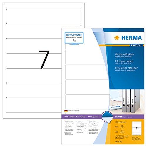 Herma 4283 Ordnerrücken Etiketten blickdicht, schmal/kurz (192 x 38 mm) 700 Ordneretiketten, 100 Blatt DIN A4 Papier matt, weiß, bedruckbar, selbstklebend