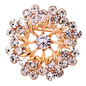 Yazilind Jewellery Rose Gold Plated Glaring Crystal Pretty Brooches and Pins Vintage for Women & Girls