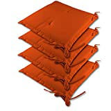 Detex® Stuhlauflagen Sydney | 4er Set wasserabweisend | Kissen Sitzkissen Stuhlkissen Auflage Sitzauflage Orange