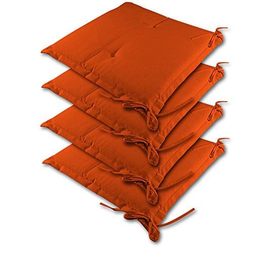 Detex® Stuhlauflagen | 4er Set Kissen | wasserabweisend | Sitzkissen Stuhlkissen Sydney Hochlehner Auflage Sitzauflage - Orange - Farbauswahl