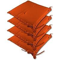 4x Detex® Cojines de silla color naranja - 41 cm x 37 cm x 5 cm - lavable - repelente al agua - material de funda: poliéster 100 %
