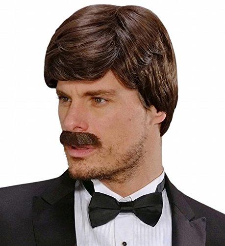 Preisvergleich Produktbild Widmann L9196 - Perücke Dream Hair George/Womanizer mit Schnurrbart, schwarz