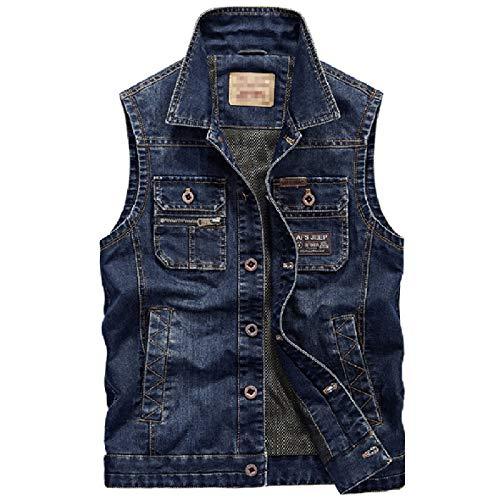 Big Tall Jeans Jacken (Energy Herren Slim Casual Big Tall Jeans Jacke Weste Gr. US 4X-Large, dunkelblau)
