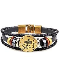 Act el papel ofing es probado Europa y los Estados Unidos comercio exterior de punto pulsera de cuentas accesorios de cuero el zodiaco Gemini pulsera accesorios