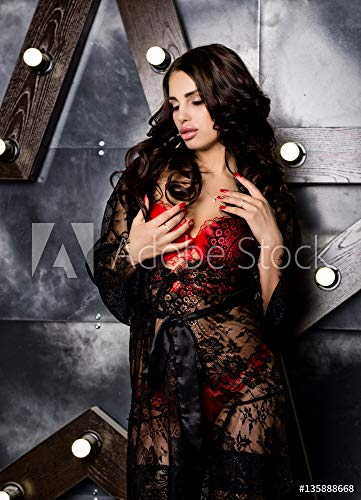druck-shop24 Wunschmotiv: Fashion sexy Young Woman in red lacy Lingerie and Stockings Posing on Steel Background with Big Star #135888668 - Bild hinter Acrylglas - 3:2-60 x 40 cm / 40 x 60 cm -