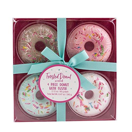 Donut Badekugeln 4er Geschenkset, Badebomben Duft: Frosted Donut - Frosted Bad Set