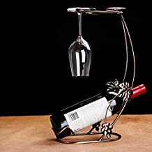 FEIFEI Estanterías de vino Estanterías de arte de hierro Estanterías de moda creativa Decoración del gabinete de la sala de estar Cocina Restaurante Bar Práctico Estante de vino tinto ( Tamaño : 230*390*210mm )