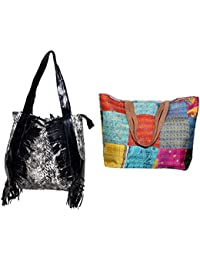 Indiweaves Combo Pack Of 1 Silk Kantha Beach Bags Bag And 1 Cotton Shopper Bag (Pack Of 2) 82100-133290-IW-P2