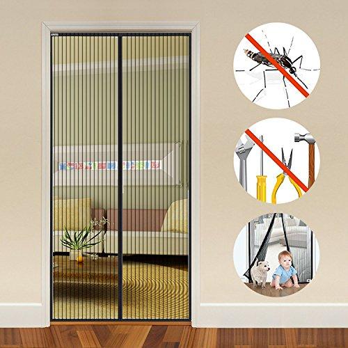 Auxent Fliegengitter Tür 100 x 220cm mit Magnetverschluss, Insektenschutz Magnetvorhang für Wohnzimmer, Balkontür, Kellertür und Terrassentür, Kinderleichte Klebemontage ohne Bohren, Schwarz