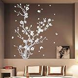 Blühender Baum Schmetterling Wanddekoration, Wandaufkleber L blau