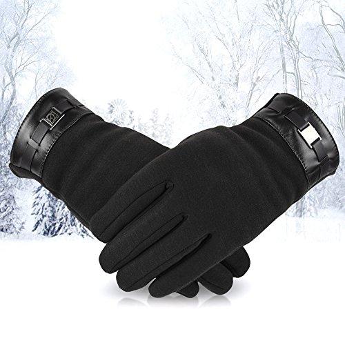Vbiger Hommes Gants Epais Écran Tactile Chaud Hiver pour les Sports de Plein Air Noir