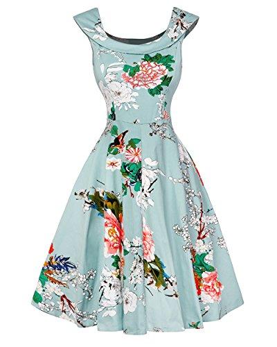 ZiXing Retro Vestido de Mujer 50 años Hasta la Rodilla Falda Vintage