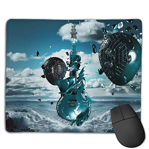 BAOQIN Mauspad,Mouse Pad 3D Creative Music Guitar Rectangle Rubber Mousepad 8.66 X 7.09 Inch Gaming Mouse Pad with Black Lock Edge