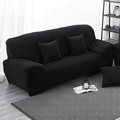 Sofa, 3-Sitzer Schonbezug Stretch Elastischer Stoff Ecksofa Displayschutzfolie Slip Cover schwarz