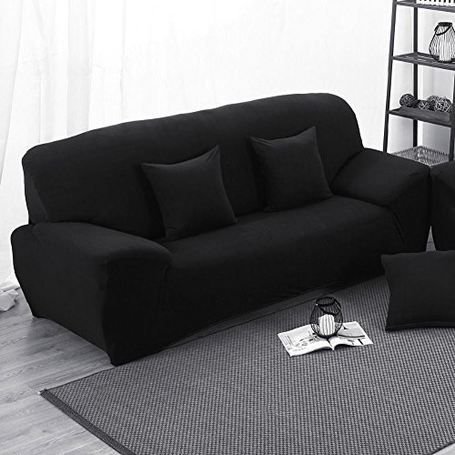 Copridivano 3posti divano slipcover, tessuto stretch elastico protector slip cover nero