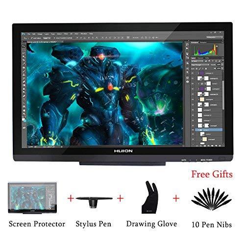 HUION Kamvas GT-220 V2 8192 Druckstufen Grafikzeichentablett Monitor 21,5 Zoll 1 920 x 1 080 HD IPS Stift-Display für Windows und Mac-Silber ... (Schwarz)