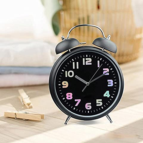 Comodino quarzo Sveglia Snooze Alarm Clock 8 pollici nero rosso casa camera da letto , black black dial