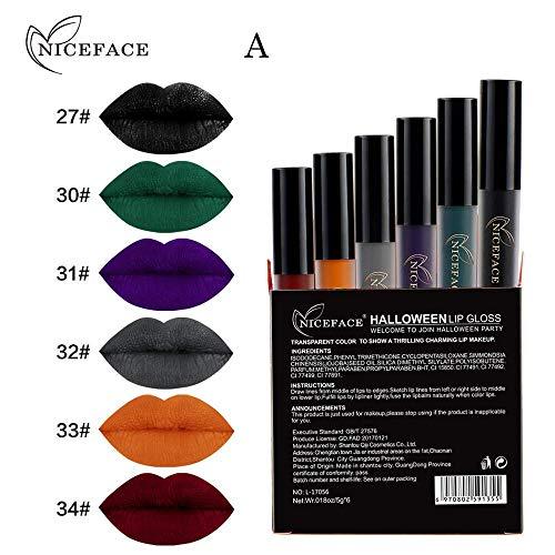 Qiusa Halloween 6 Stücke Stil Lip Dessous Matte Flüssigkeit Lippenstift Wasserdicht Lipgloss Set (Farbe : A)