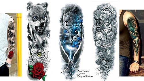 3sheet pieno braccio tattoo braccio tattoo leone tiger wolf lunghezza 45cm
