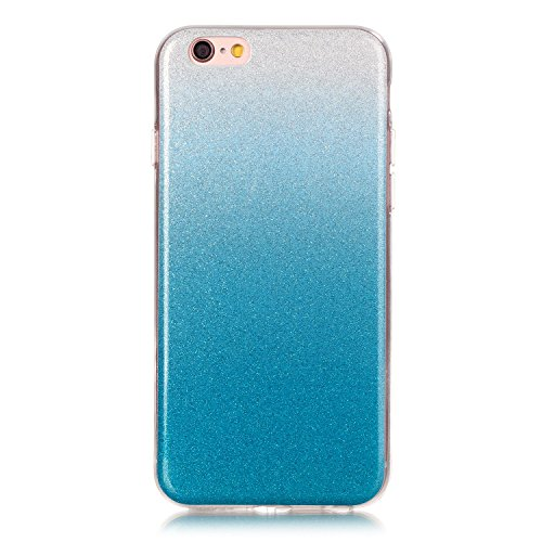 iPhone 6S Plus Hülle Weiches Silikon Glitzer Schutzhülle Tasche Case,iPhone 6 Plus Hochwertig Leicht Gummi Schutz Hoch Handyhüllen Schale Etui,Herzzer Modisch Luxus Silikon Bunt Hülle [Farbverlauf Gra Blau