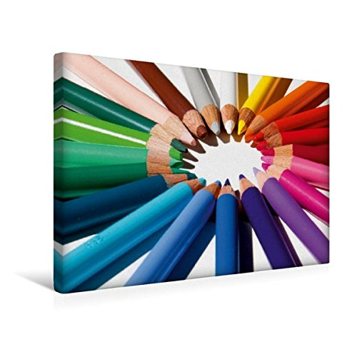 Calvendo Premium Textil-Leinwand 45 cm x 30 cm quer, Buntstifte im Kreis | Wandbild, Bild auf Keilrahmen, Fertigbild auf echter Leinwand, Leinwanddruck Regenbogens Spass Spass