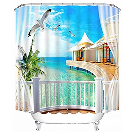 KKLL Shower Curtain Polyester 3D Seaside Villa Landscape Three dimensions Visual space Printing Waterproof Antibacterial Mildew Resistant Blackout Thickened Bathroom Cut off Hanging curtains , 150*180cm